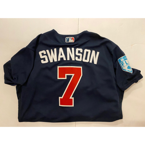 Dansby Swanson 2019 Game Used Spring Training Jersey - Worn March 3, 2019