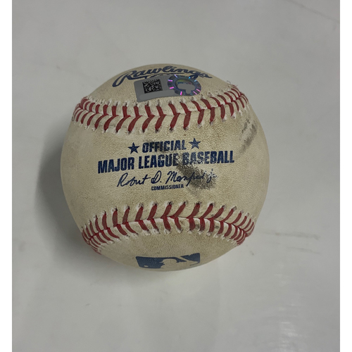 Photo of Game Used Baseball - 8/22/20 - Batter: Jeimer Candelario, Pitcher: Triston McKenzie (MLB Debut) - Double