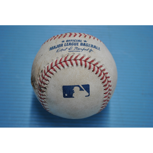 Photo of Game-Used Baseball - 2020 NLDS - Los Angeles Dodgers vs. San Diego Padres - Game 3 - Pitcher - Adrian Morejon, Batters - Mookie Betts (Walk), Corey Seager (Ball, Wild Pitch - Mookie Betts to Second) - Top 3
