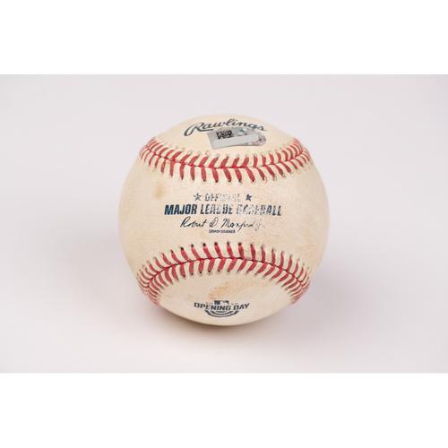 Photo of Game Used Baseball: Pitcher: Zac Grotz, Batter: Shohei Ohtani - RBI Double - Bot 6 - 7-28-2020 vs. SEA