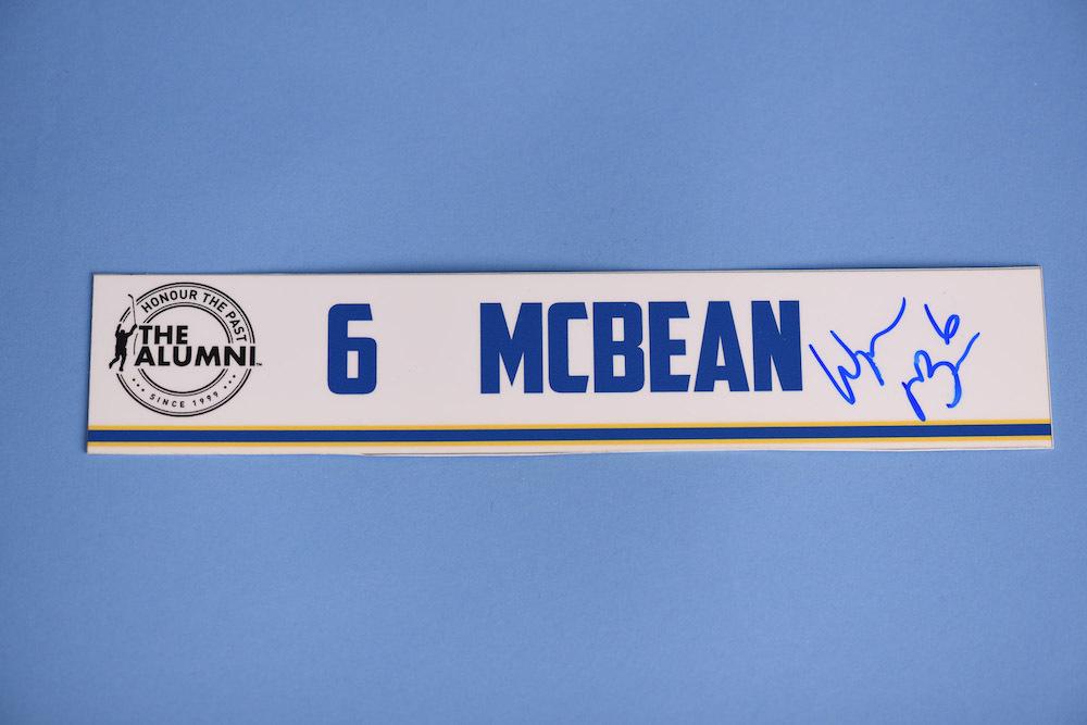 Wayne McBean autographed 2020 NHL Alumni All Star Game Locker Room Stall Nameplate