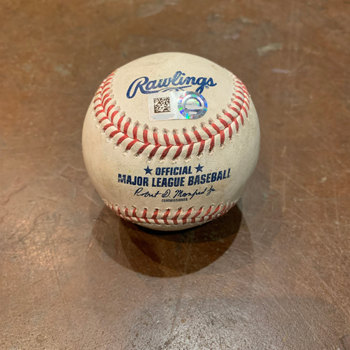 Photo of 2021 Game Used Baseball used on 4/14 vs. CIN - B-7: Sal Romano to Donovan Solano - Single to Center Field