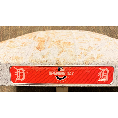 Photo of Detroit Tigers 2021 Opening Day Game-Used Base with Opening Day Base Jewels (MLB AUTHENTICATED)