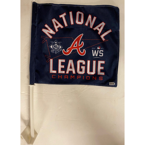 Photo of National League Champions Celebration Car Flag - From the Braves Clubhouse