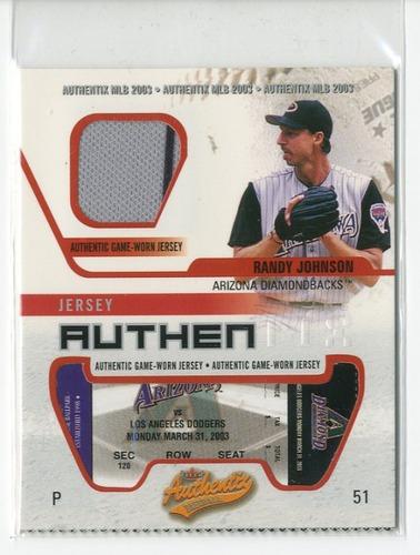 Photo of 2003 Fleer Authentix Game Jersey #RJ Randy Johnson SP