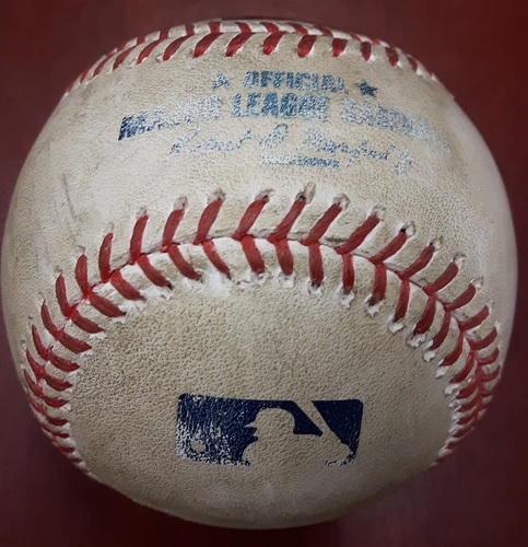 Photo of Authenticated Game Used Baseball (April 15, 2017 vs BAL) - Jonathan Schoop doubles (3) on a sharp line drive to left fielder Ezequiel Carrera.  Four-Seam Fastball by Marco Estrada (Top 7)