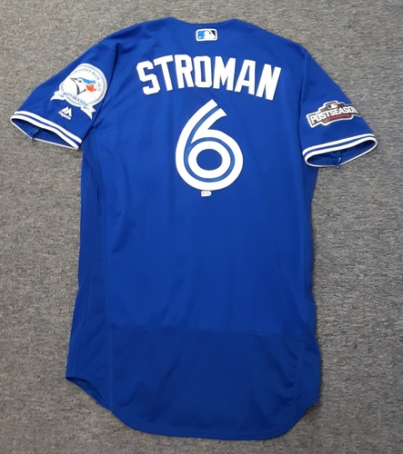 Photo of Authenticated Game Used Jersey - #6 Marcus Stroman (2016 Wild Card Game and ALDS Game 3). Stroman went 6 IP with 4 hits 2 ER and 6 Ks in the Wild Card Game. Size 42