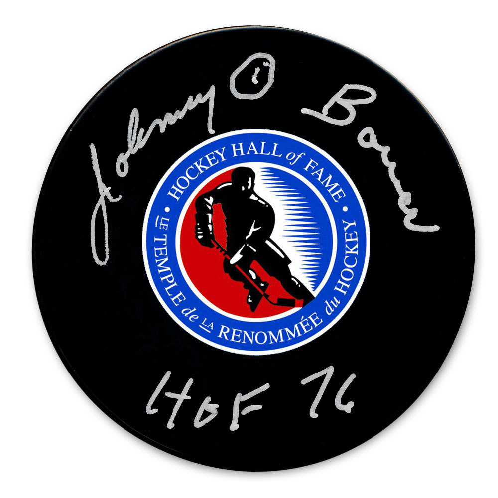 Johnny Bower Hockey Hall of Fame HOF Autographed Puck