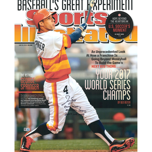 "Photo of George Springer Houston Astros 2017 MLB World Series Champions Autographed 16"" x 20"" SI Cover Photo with Multiple Inscriptions - Limited Edition of 1"