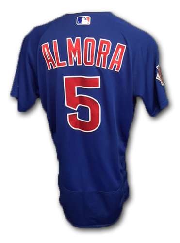 Photo of Albert Almora Game-Used Jersey -- Cubs at Marlins, 3/30/18 -- Cubs at Brewers, 6/11/18 (3 Hits, 1 Run, 2 RBI)