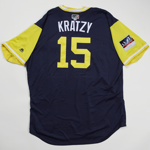 "Photo of Erik ""Kratzy"" Kratz Milwaukee Brewers Game-Used Jersey 2018 Players' Weekend Jersey"