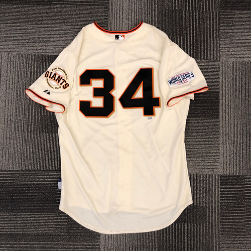 Photo of 2014 World Series Game Used Jersey - World Series Game 4 vs. Kansas City Royals - Used by #34 Andrew Susac - Size 48