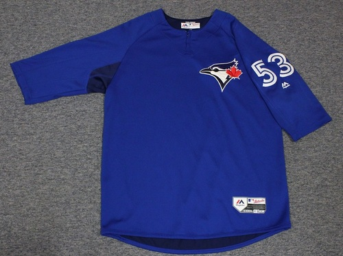 Photo of Authenticated Team Issued Batting Practice Jersey - #53 Mike Mordecai. Size L.