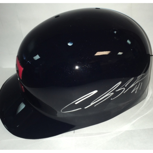 Photo of Carlos Santana Autographed Indians Batting Helmet