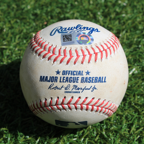 Photo of Game-Used Baseball: Matt Olson 291st Career Hit (OAK @ KC - 8/28/19)