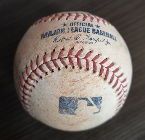 Photo of Authenticated Game Used Baseball - Single by Jose Abreu against Aaron Sanchez (May 12, 19 vs CWS). Top 4.