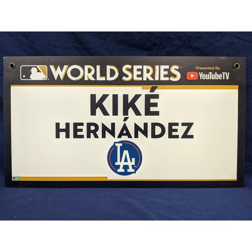 "Photo of Team-Issued Enrique ""Kiké"" Hernandez 2017 World Series Media Sign"