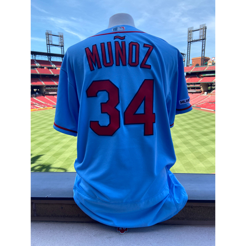 Photo of Cardinals Authentics: Team Issued Yairo Munoz Saturday Road Blue Jersey