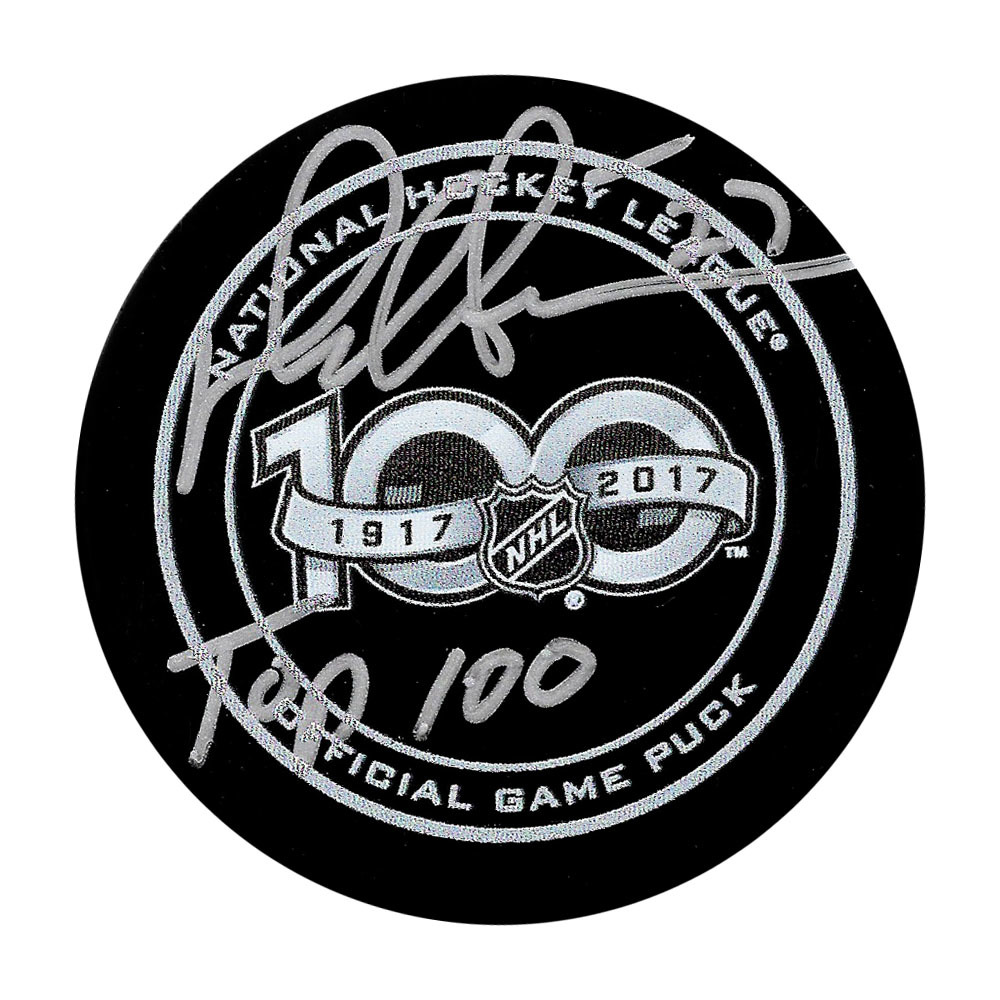 Darryl Sittler Autographed NHL 100 Official Game Puck w/TOP 100 Inscription