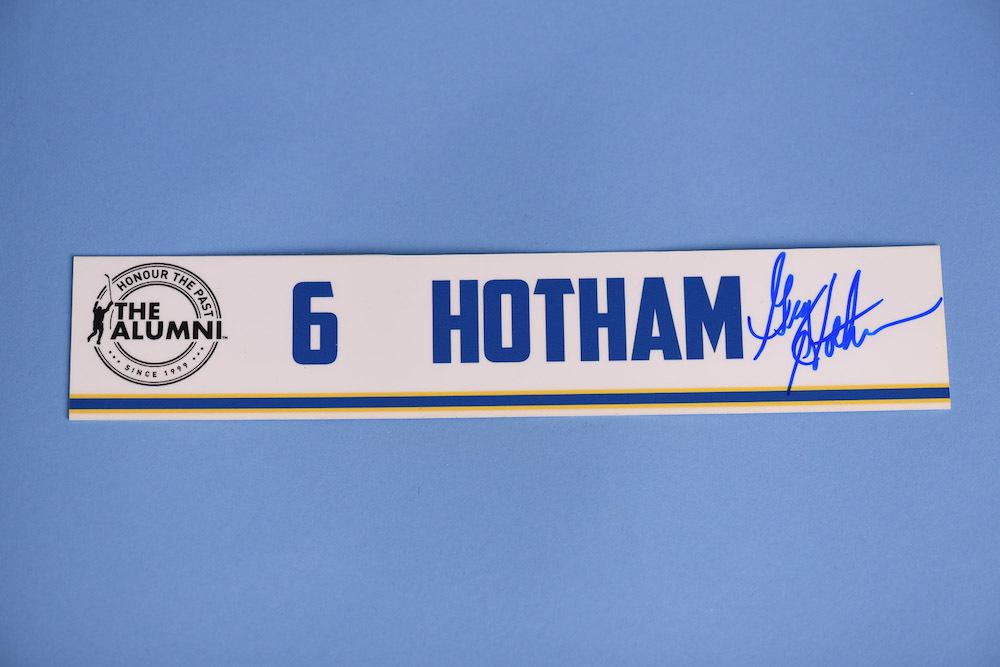 Greg Hotham autographed 2020 NHL Alumni All Star Game Locker Room Stall Nameplate