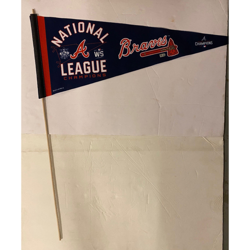 Photo of National League Champions Celebration Pennant - From the Braves Clubhouse