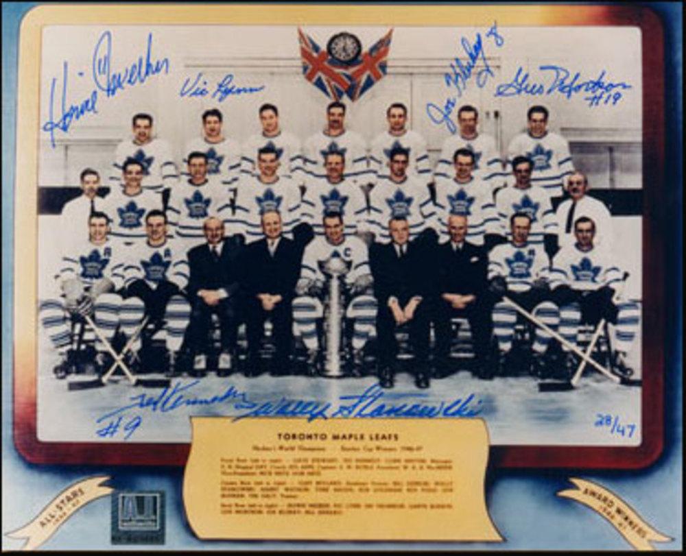 1946-47 Toronto Maple Leafs Stanley Cup 8x10 Team Photo LE 46/47 *6 AUTOGRAPHS* *MEEKER, LYNN, KLUKAY, MORTSON, KENNEDY, STANOWSKI*
