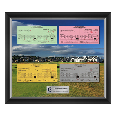 Photo of 1 of 200 L/E Padraig Harrington, Champion Golfer of Year, The 136th Open 1,2,3 and Final Round Scorecard Reproductions Framed