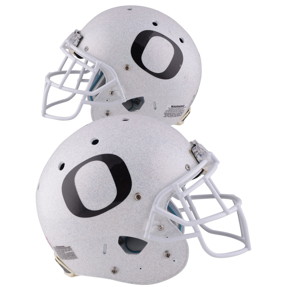 Oregon Ducks Game-Used Gray and White Helmet Worn Between the 2014 and 2017 Football Seasons - Schutt One Bar