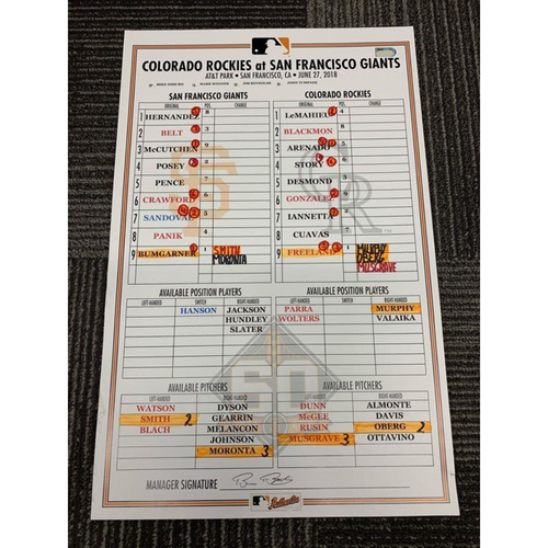 Photo of End of Year Auction - 2018 Game Used Line Up Card - SF vs COL - 6/27/18 - Bumgarner vs Freeland