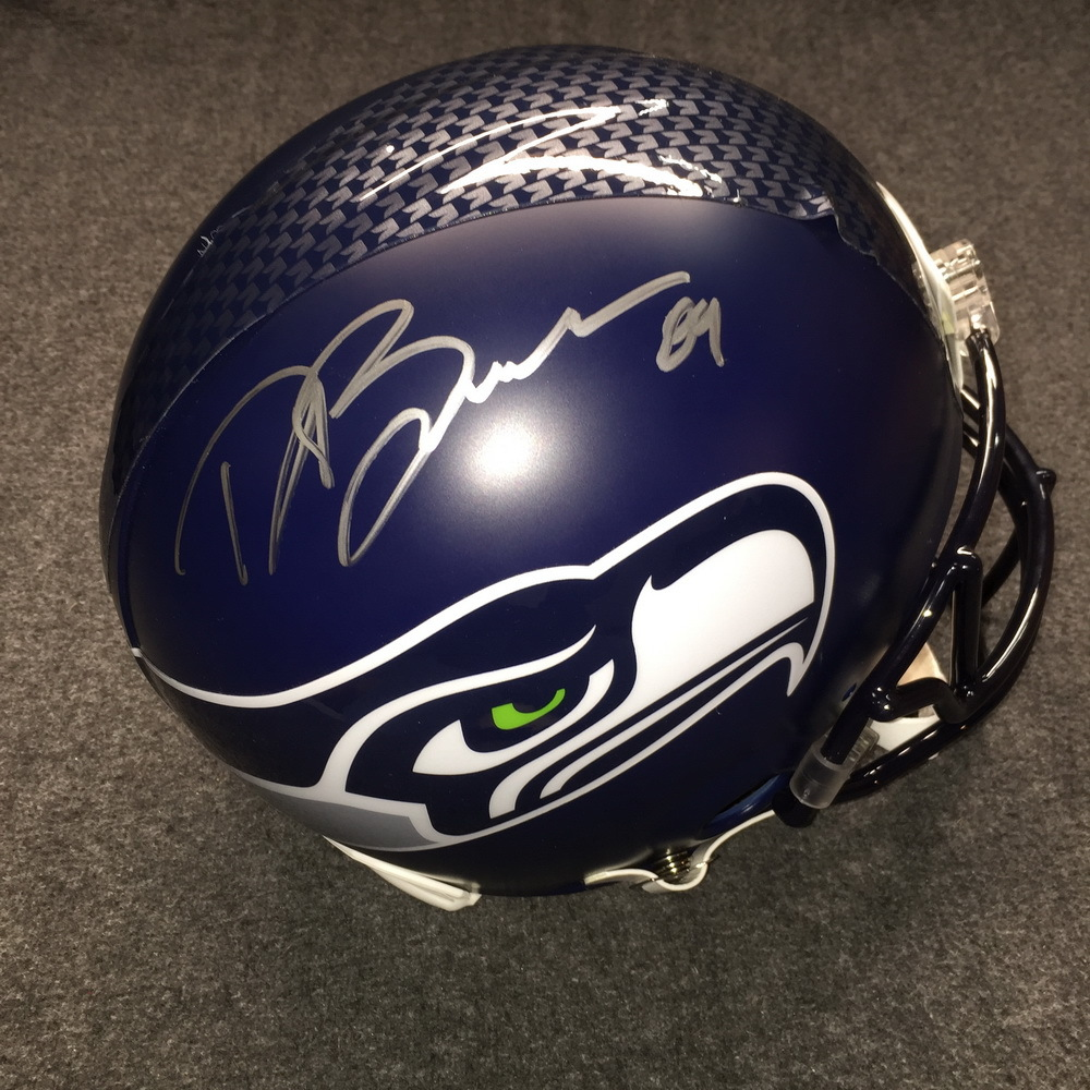 NFL - Seahawks Doug Baldwin signed Seahawks proline helmet (bubbles on helmet stripe decal)