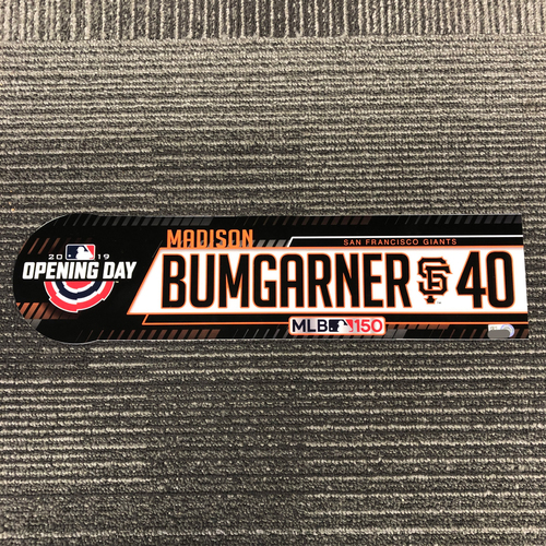 Photo of 2019 Opening Day Game Used Locker Tag - #40 Madison Bumgarner