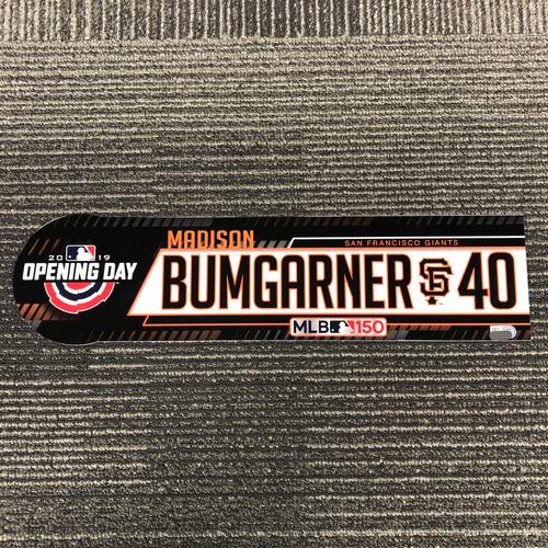 Photo of 2019 Opening Day Game Used Locker Tag - #40 Madison Bumgarner