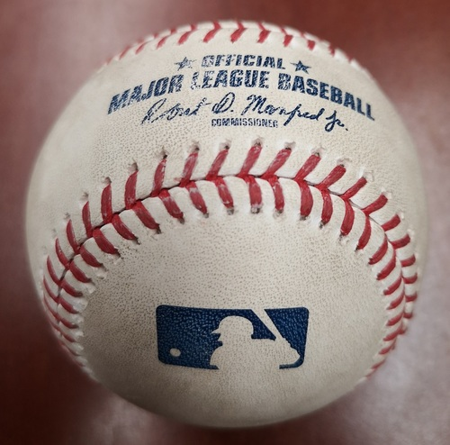 Photo of Authenticated Player Collected Baseball - Presented as Ball hit into the Toronto Blue Jays Bullpen in the Bottom of the 3rd against Homer Bailey. June 29, 19 vs KC. Player: Vladimir Guerrero Jr.