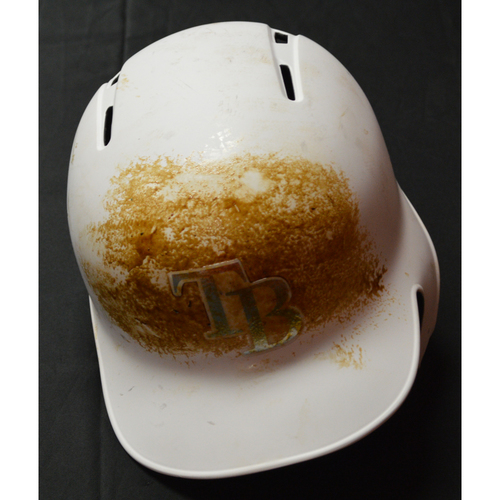"Photo of Matt ""DUFFAN"" Duffy Tampa Bay Rays Game-Used 2019 Players' Weekend Helmet"