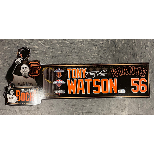 """Photo of 2019 Autographed Locker Tag - """"Thank You Boch!"""" Special Edition Team-Issued Locker Tag - used for Final Series of Bochy's Career - #56 Tony Watson"""