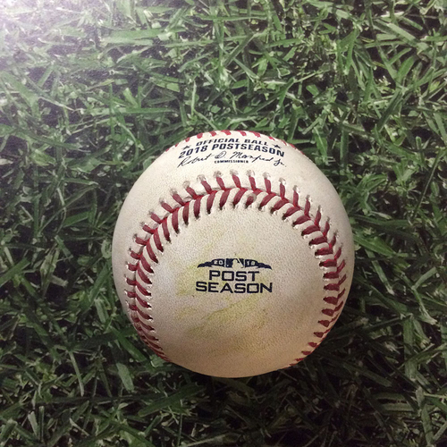 Photo of Game-Used Baseball NLDS Game 1 COL@MIL 10/04/18 - Corbin Burnes - Carlos Gonzalez: Triple