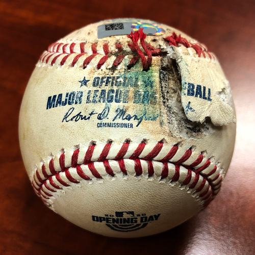 Photo of 2020 Opening Day Game Used Baseball: Pitcher: Hansel Robles, Batter: Matt Chapman - Foul - Bot 10 - 7-24-2020 vs. LAA - *1st Time in MLB History w/ New Extra Inning Format*