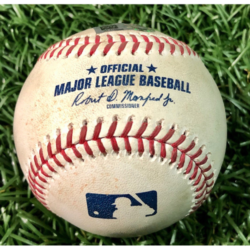 Photo of Game Used Baseball: Giancarlo Stanton HOME RUN (3) off Sean Gilamartin - #311 of Career - Game 1 - First Seven Inning DH at Tropicana Field - August 8, 2020 v NYY