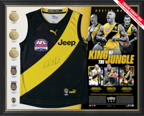 Photo of Dustin Martin Signed Deluxe Guernsey Display - Edition Number 20