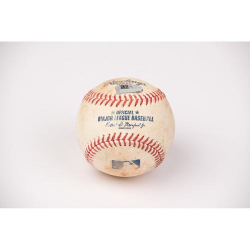 Photo of Game Used Baseball: Pitcher: Lance McCullers, Batter: David Fletcher - Single - Bot 3 - 7-31-2020 vs. HOU