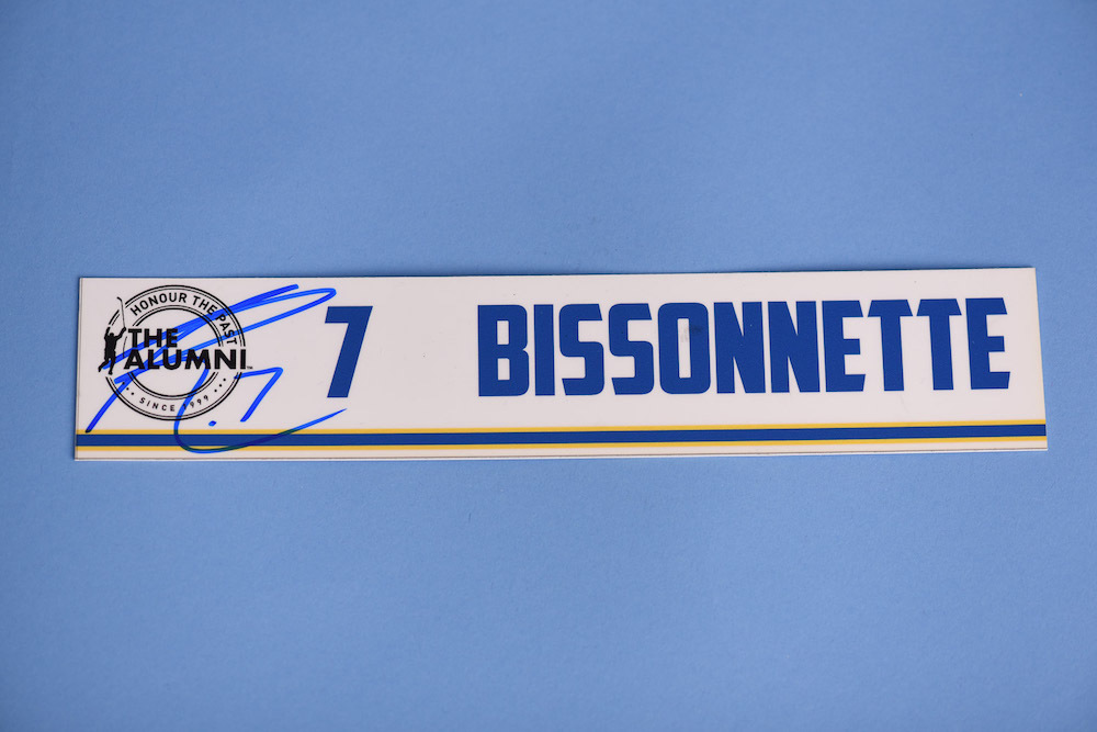 Paul Bissonnette autographed 2020 NHL Alumni All Star Game Locker Room Stall Nameplate