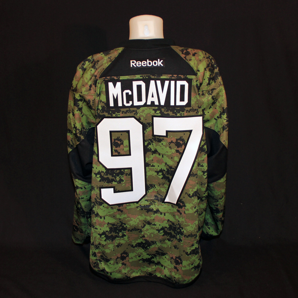 Connor McDavid #97 - Autographed 2016-17 Edmonton Oilers Pre-game Warm Up Worn Canadian Armed Forces Camouflage Jersey