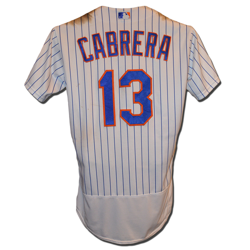 Photo of Asdrubal Cabrera #13 - Game Used White Pinstripe Jersey - Cabrera Goes 4-5, Homerun (4), 2 RBI, 2 Runs Scored - Mets vs. Nationals - 4/16/18