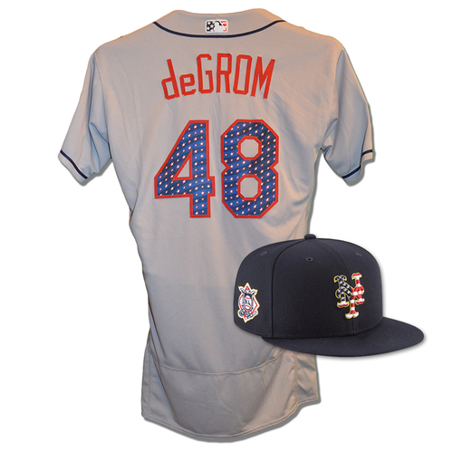 Photo of Jacob deGrom #48 - Game Used 4th of July Jersey and Hat - Mets vs. Blue Jays - 7/4/18