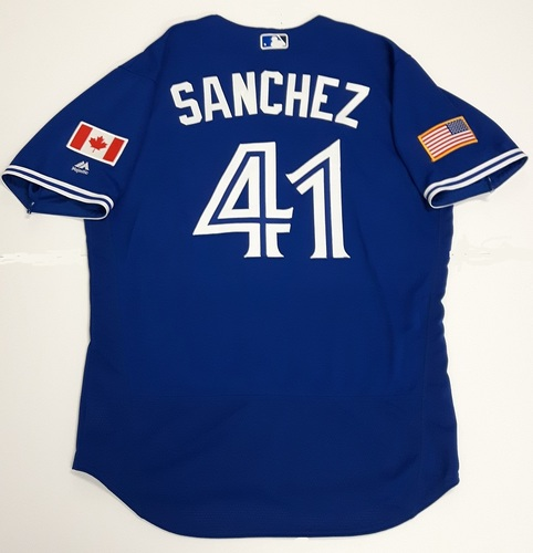 Photo of Authenticated Team Issued 2018 Independence Day Jersey (July 4, 2018) - #41 Aaron Sanchez. Size 46.