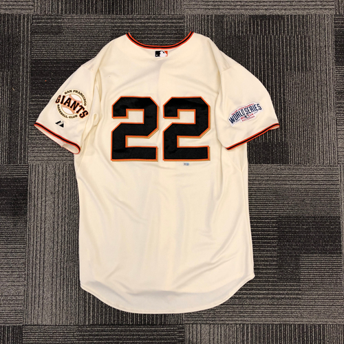 Photo of 2014 World Series Game Used Jersey - World Series Game 5 vs. Kansas City Royals - Used by #22 Jake Peavy  - Size 48