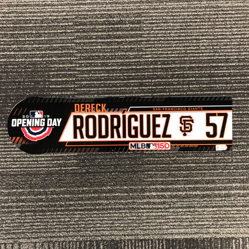 Photo of 2019 Opening Day Game Used Locker Tag - #57 Dereck Rodriguez