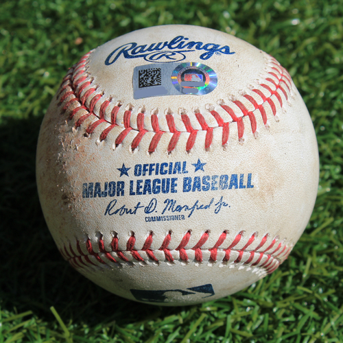 Photo of Game-Used Baseball: Christin Stewart 86th Career Hit and Jeimer Candelario 51st Career Double (DET @ KC - 9/4/19)