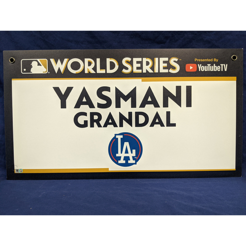 Photo of Team-Issued Yasmani Grandal 2017 World Series Media Sign