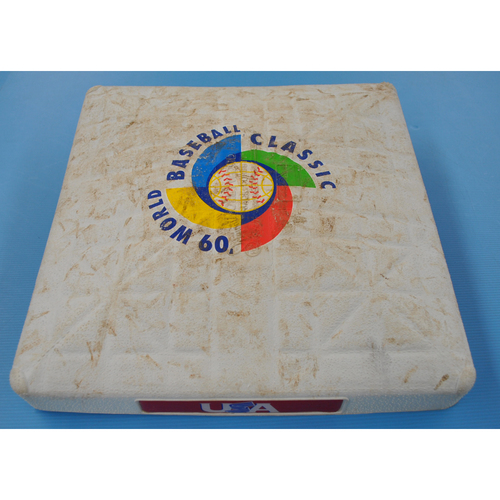 Photo of Game-Used Base - 2009 WBC - Round 2 - 3rd Base - Miami - United States vs. Puerto Rico - 03/17/2009